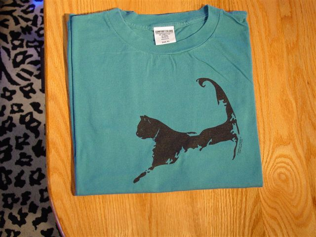 Cape Cat Map T-Shirt (Cape Cod Teal Blue)