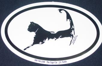 Cape Cat Map Oval Euro Sticker - Large